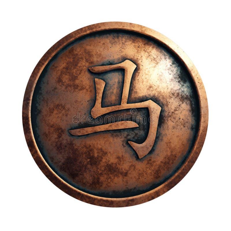 十二生肖在铜圈子的标志雄鸡 向量例证