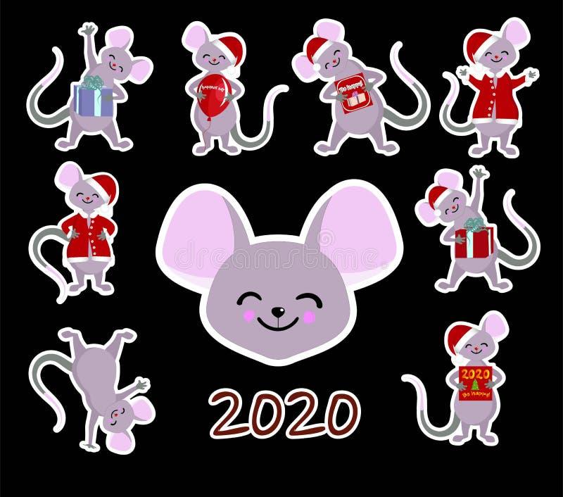 十二生肖鼠的标志年,儿童愉快的农历新年2020年鼠的贴纸 图库摄影