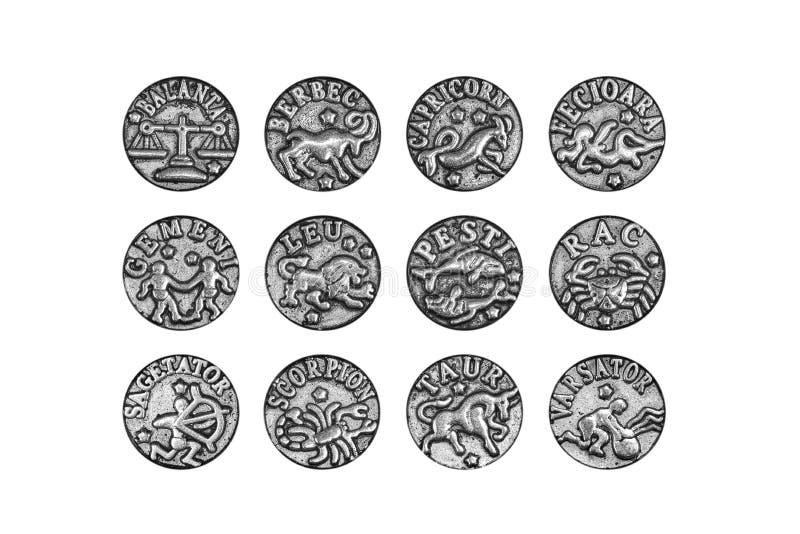十二黄道带标志魅力的全套在罗马尼亚语的,隔绝在白色背景,裁减路线包括 免版税库存图片