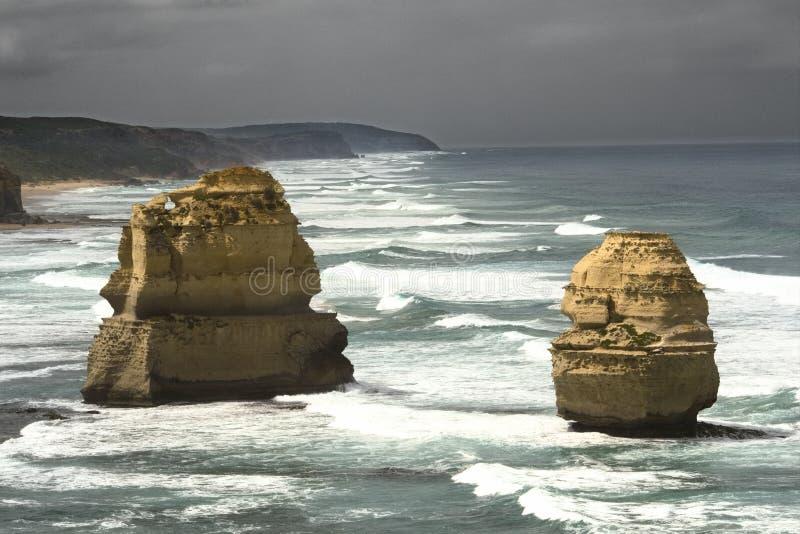十二apostels的岩石沿大洋路,南澳洲的 免版税库存图片