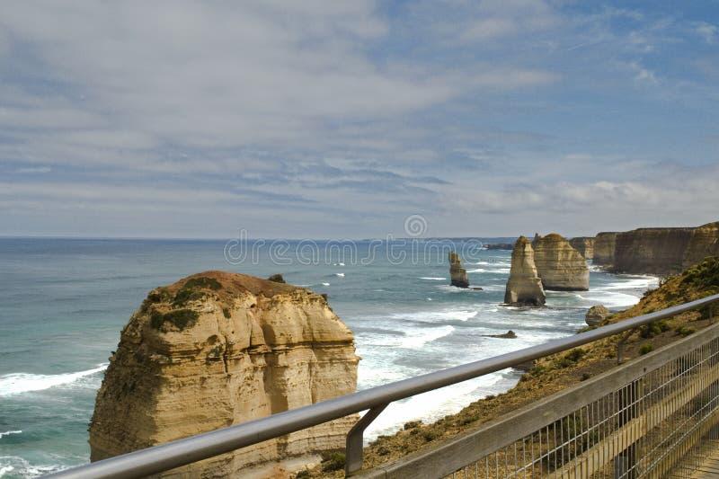 十二apostels的岩石沿大洋路,南澳洲的 免版税图库摄影