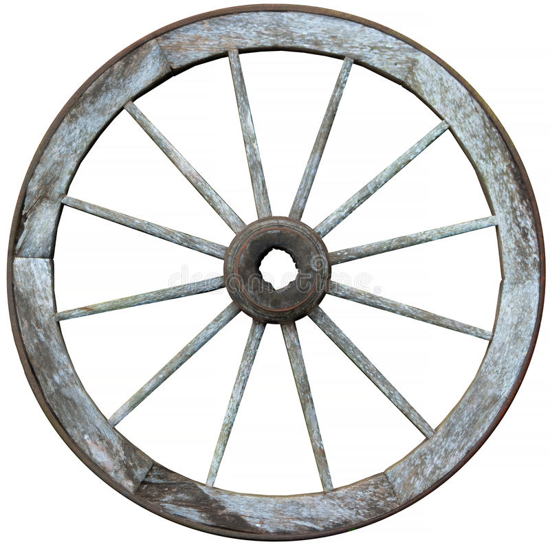十二spoked木材和钢马车车轮 库存图片