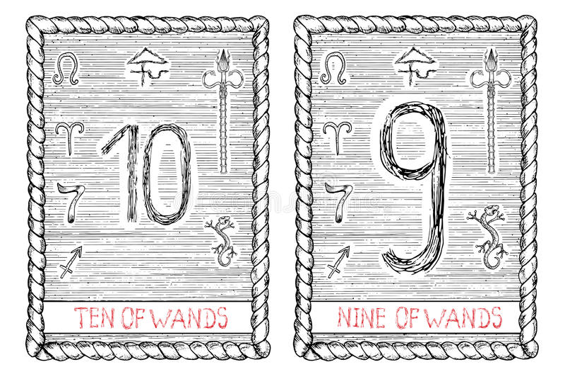 十倍和九鞭子 占卜用的纸牌 向量例证