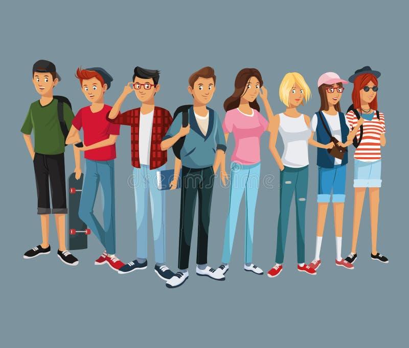 十几岁小组时尚学生现代样式 向量例证