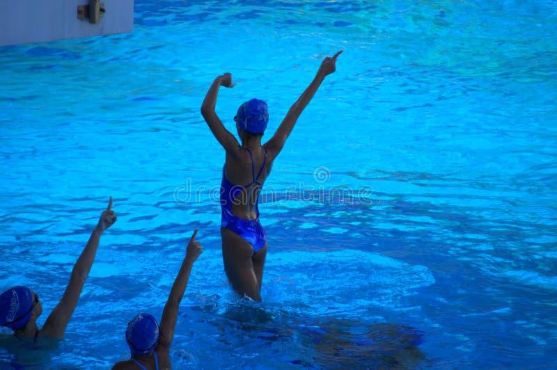 十几岁的女孩同步游泳队实践 免版税库存图片