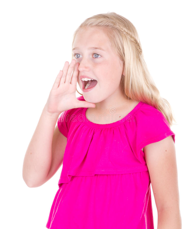 十几岁的女孩呼喊 图库摄影
