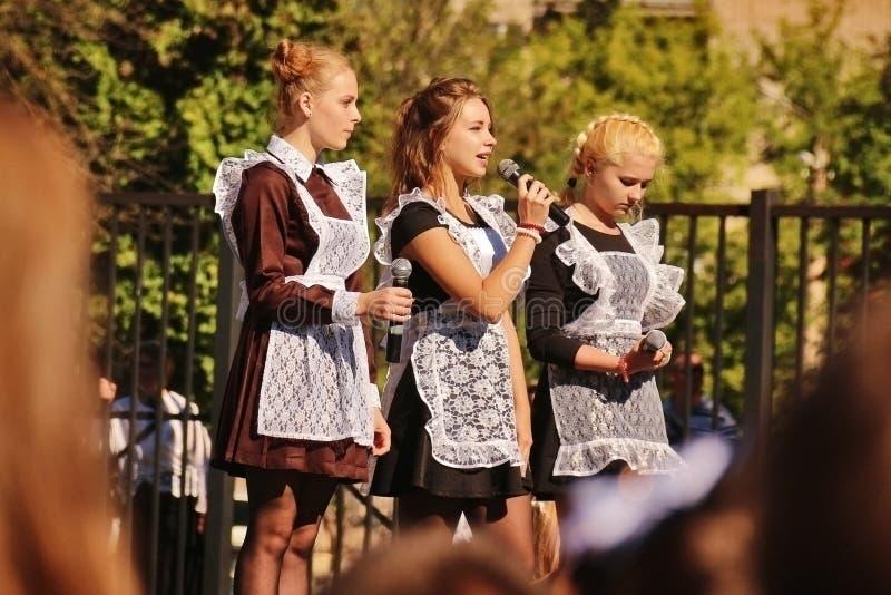 十几岁的女孩在9月1日 库存照片