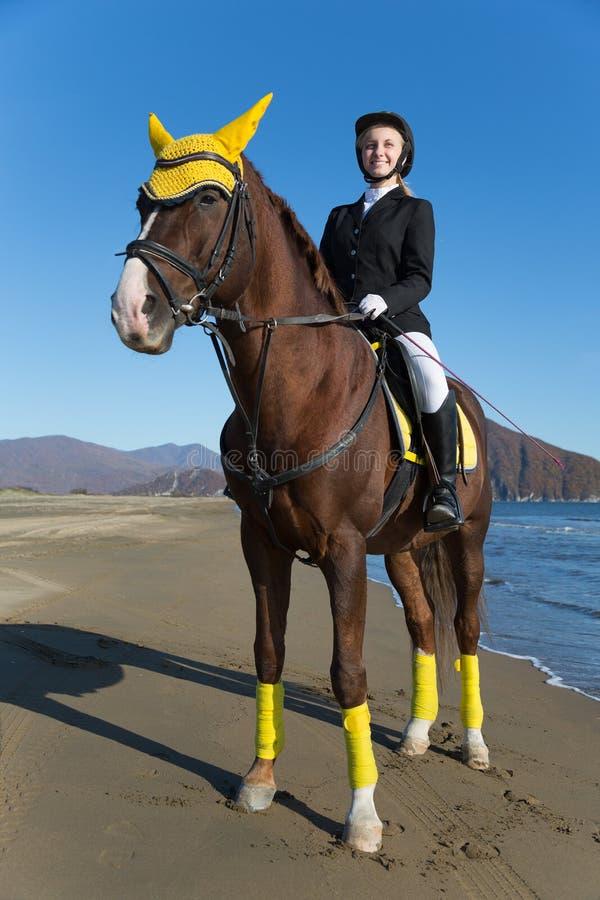 十几岁的女孩坐在海滩的一匹马。 库存图片
