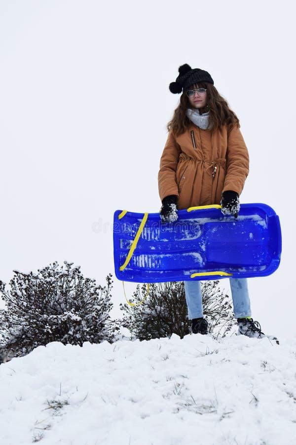 十几岁的女孩户外藏品雪撬在雪 库存图片