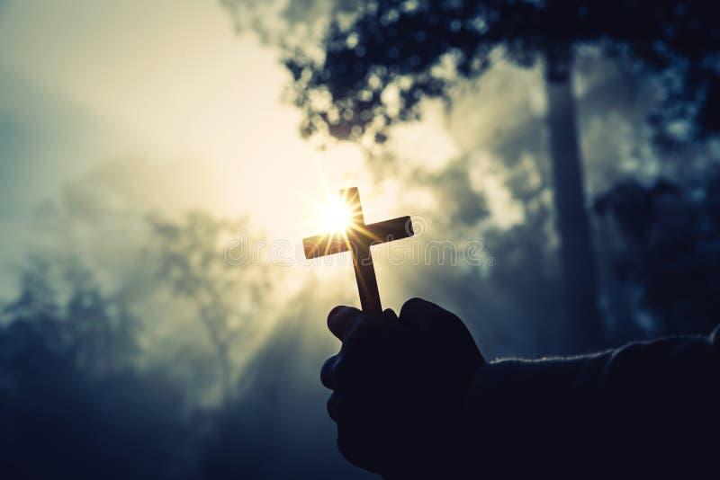 十几岁的女孩祈祷与在晴朗的自然的一个十字架 女孩在有阳光的绿色森林里坐了 库存照片