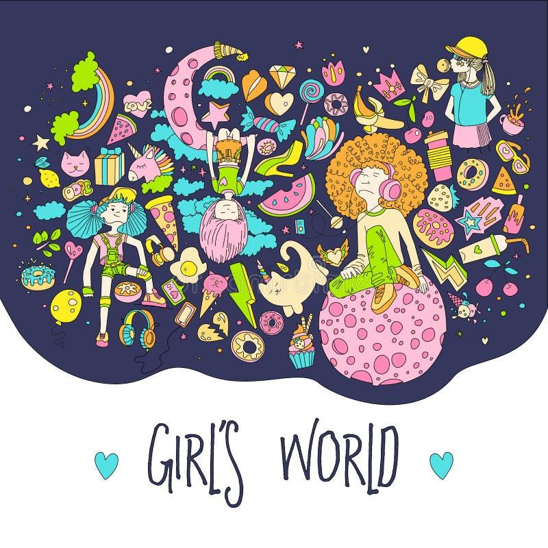 十几岁的女孩象,逗人喜爱的与行情的动画片青少年的对象,乐趣贴纸彩色组设计在少年女孩的传染媒介 向量例证