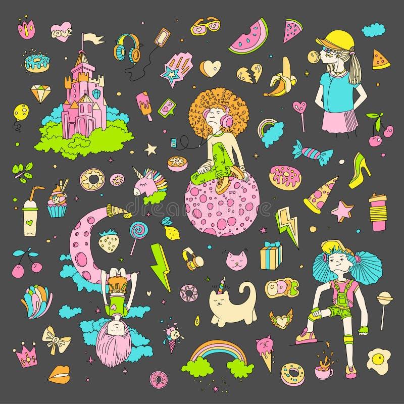 十几岁的女孩象,逗人喜爱的动画片青少年的对象,乐趣贴纸彩色组设计在少年女孩概念的传染媒介 向量例证