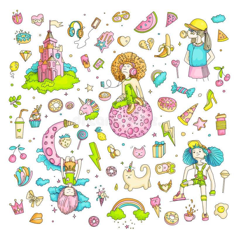 十几岁的女孩象,逗人喜爱的动画片青少年的对象,乐趣贴纸彩色组设计在少年女孩概念的传染媒介 库存例证