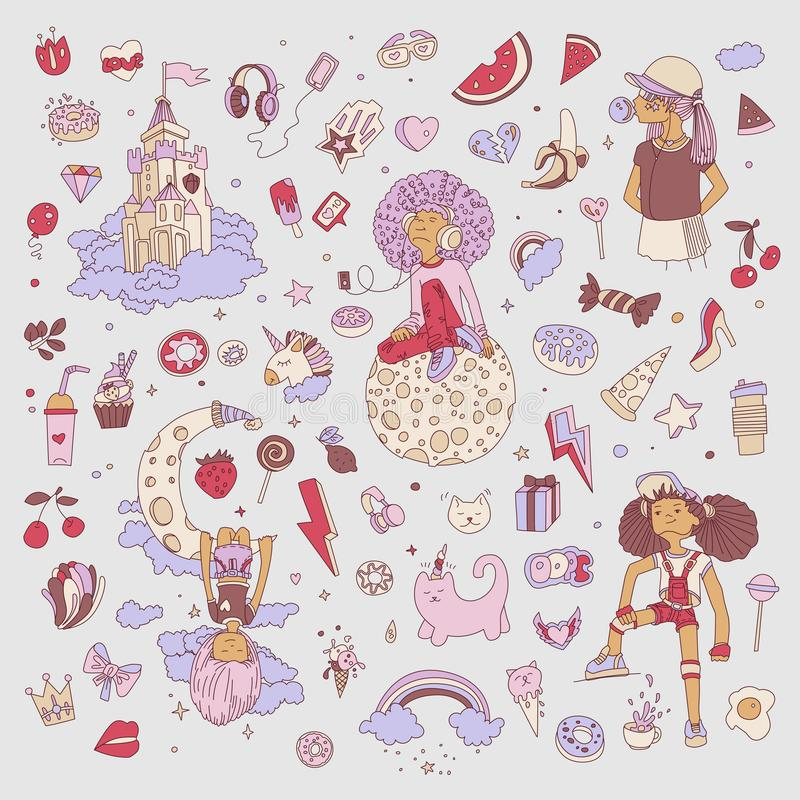 十几岁的女孩象,逗人喜爱的动画片青少年的对象,乐趣贴纸彩色组设计在少年女孩概念的传染媒介 皇族释放例证