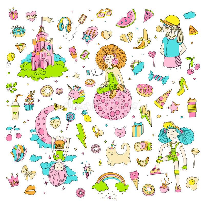 十几岁的女孩象,逗人喜爱的动画片青少年的对象,乐趣贴纸,补丁彩色组设计在少年女孩的传染媒介 向量例证