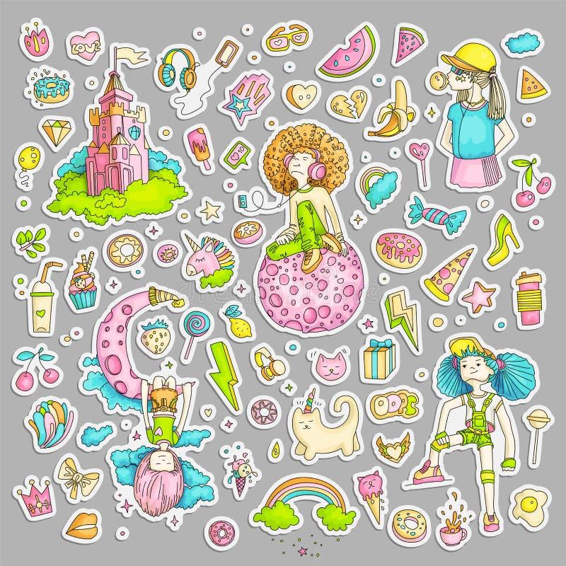 十几岁的女孩贴纸,逗人喜爱的动画片青少年的补丁,乐趣贴纸彩色组设计在少年女孩概念的传染媒介 库存例证