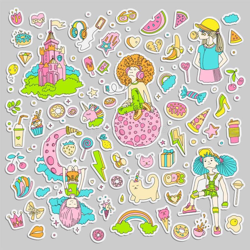 十几岁的女孩贴纸,逗人喜爱的动画片青少年的补丁,乐趣贴纸彩色组设计在少年女孩概念的传染媒介 皇族释放例证