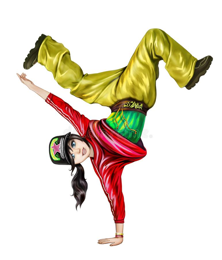 十几岁的女孩跳舞 皇族释放例证