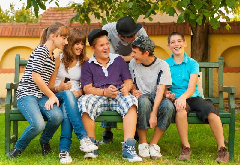 十几岁的男孩和女孩获得乐趣在庭院 图库摄影