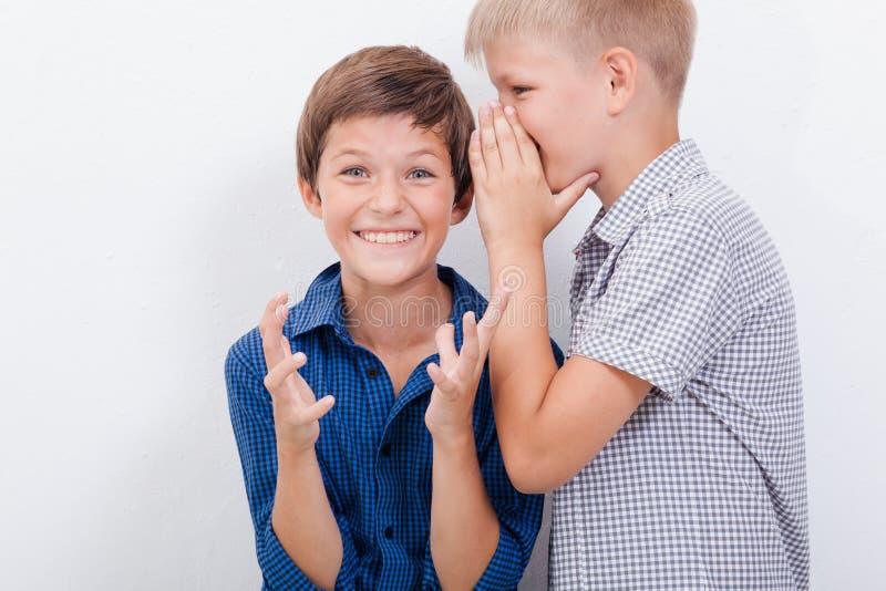 十几岁的男孩耳语在耳朵秘密 免版税库存照片