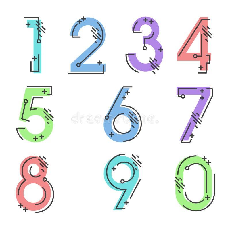 十号码表单零到九,数字设计元素集  向量例证