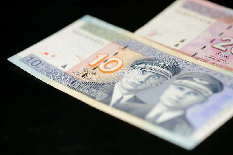十和二十立陶宛litas钞票在黑暗的背景的 库存照片