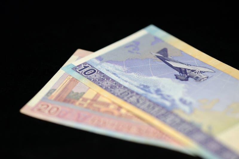 十和二十立陶宛litas钞票在黑暗的背景的 免版税库存照片