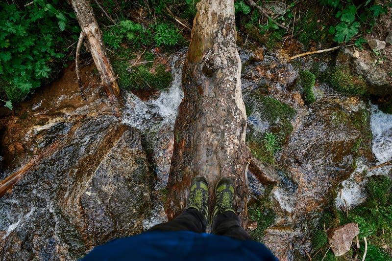 十字架一本日志的河在阿尔玛蒂,风景附近 免版税库存图片