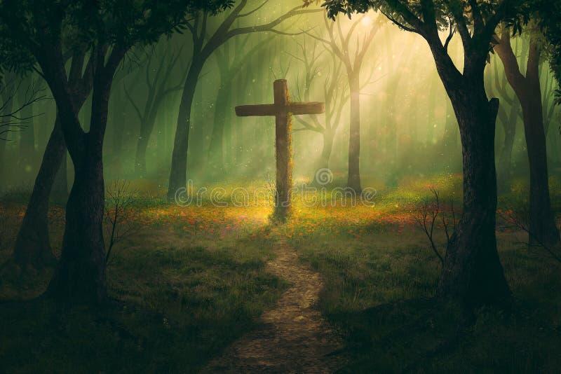十字架和森林 库存例证