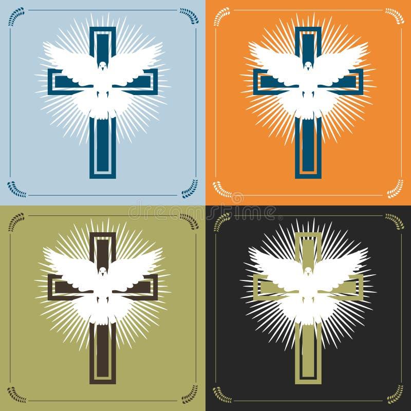 十字架和鸠 向量例证