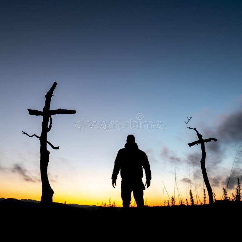 十字架在森林里 免版税库存照片