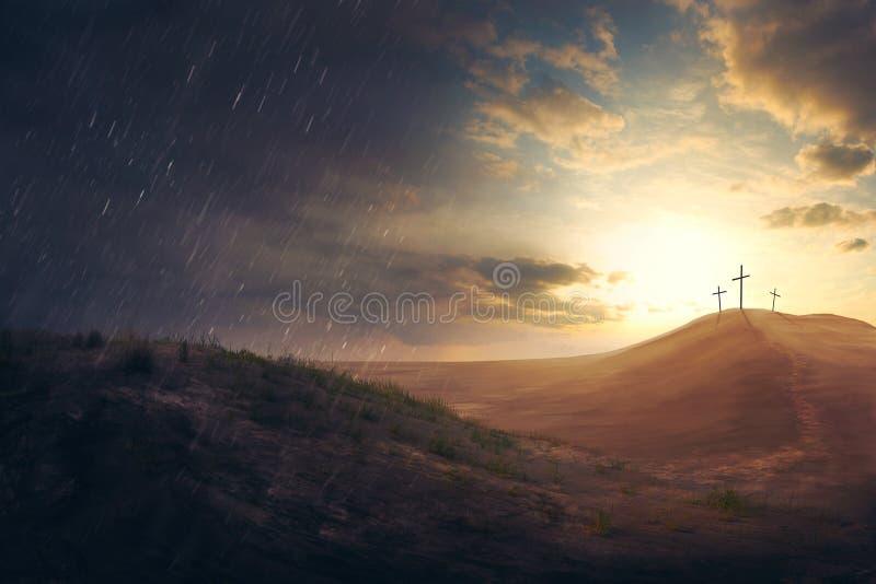 十字架在沙漠 库存照片