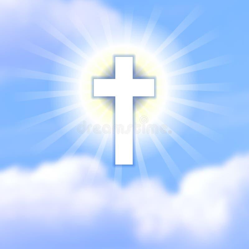 十字架在蓝色多云天堂 基督的复活的标志 向量例证