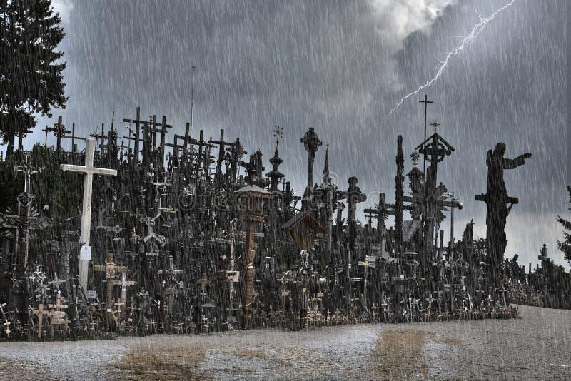 十字架小山在希奥利艾,立陶宛 免版税库存照片