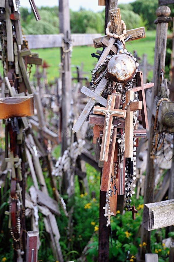 十字架小山,立陶宛语东欧-细节 库存照片