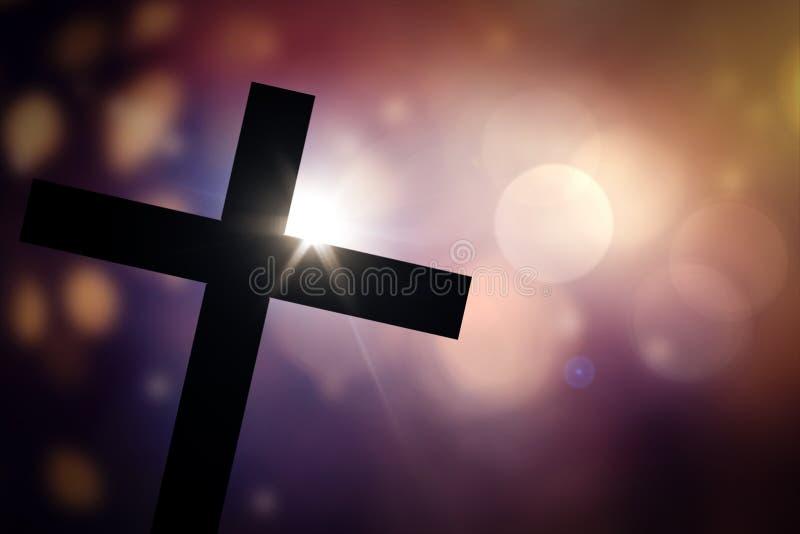 十字架有抽象bokeh背景 免版税图库摄影