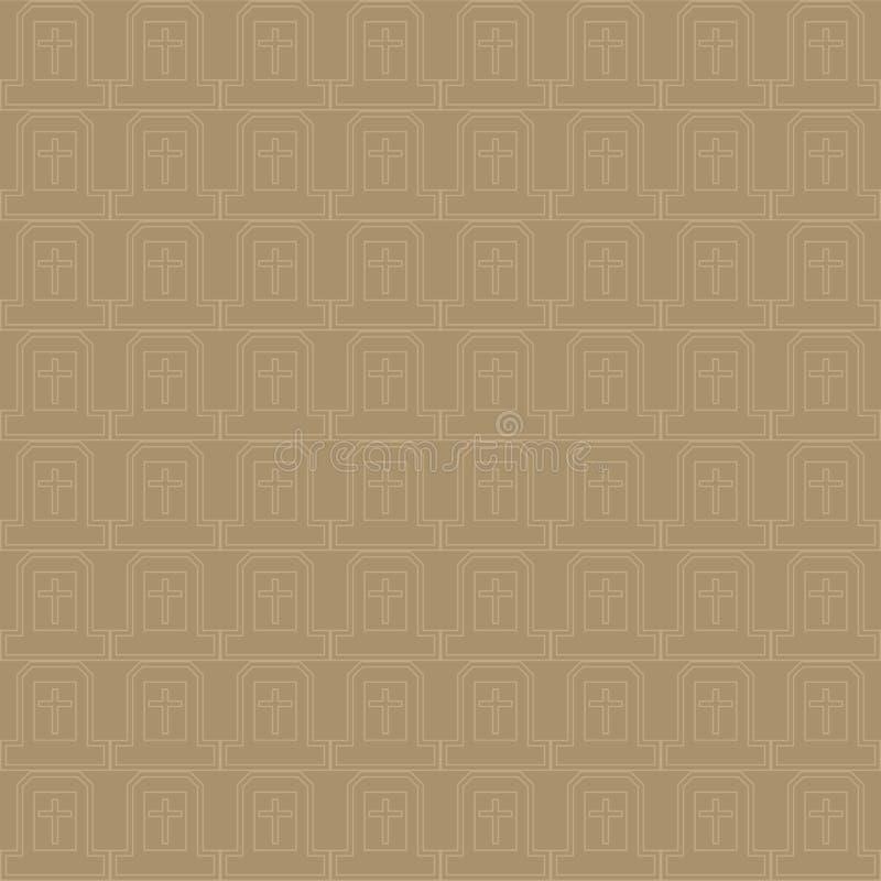十字架的传染媒介无缝的样式在自然褐色和灰色颜色的 库存例证