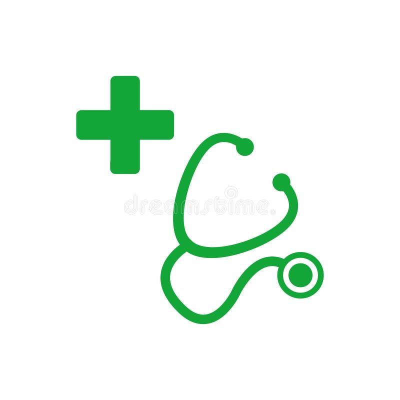 十字架的听诊器和剪影 急救医疗标志,应用程序的平的传染媒介象,网站,标签,标志,贴纸 ?? 库存例证