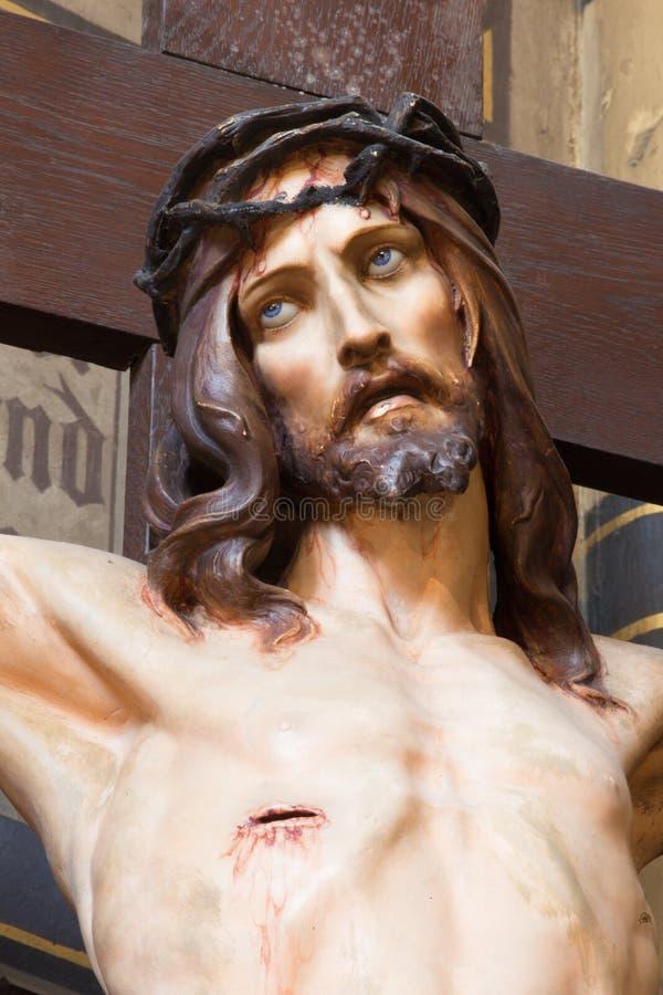 十字架的安特卫普-耶稣从Joriskerk或圣乔治教会 免版税库存照片