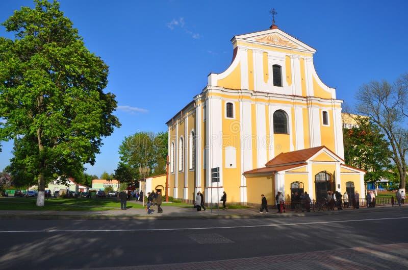 十字架的教会兴奋在利达镇  迟来的 库存照片