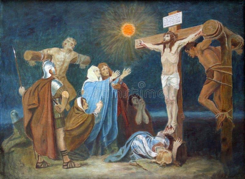 十字架的第12个驻地,在十字架上钉死:耶稣被钉牢对十字架 免版税图库摄影