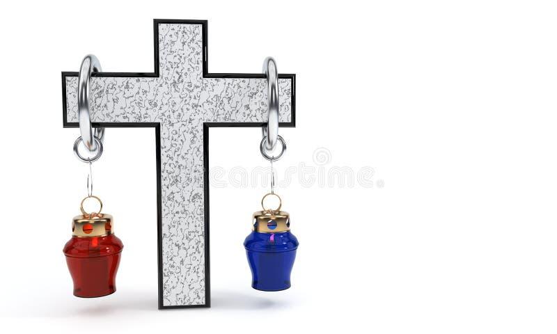 十字架称概念和灯, 3d翻译 向量例证