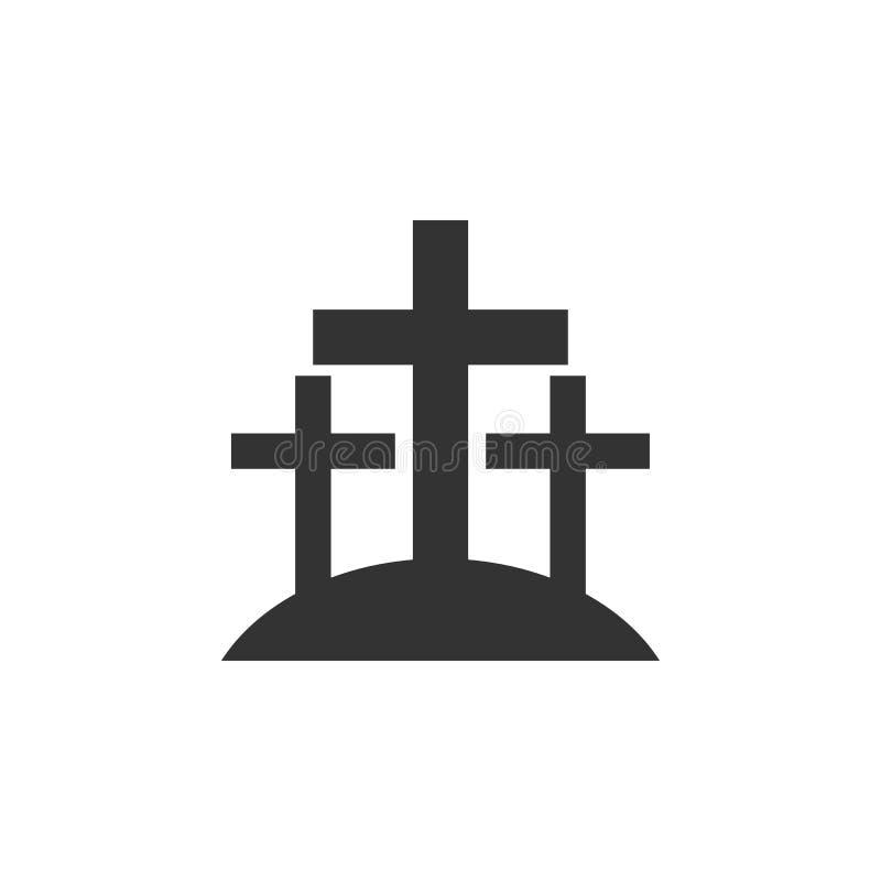 十字架,公墓象可以为网,商标,流动应用程序,UI,UX使用 皇族释放例证
