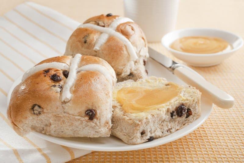 十字面包用蜂蜜 图库摄影