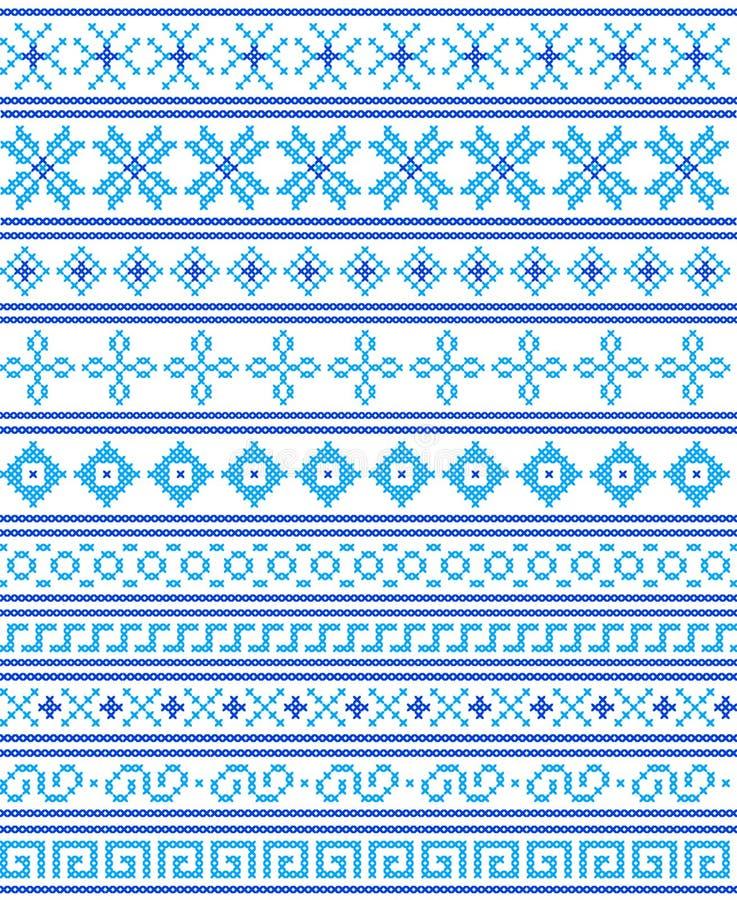十字绣 工艺和爱好 蓝色无缝的边界和fram 库存例证