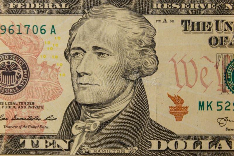 十美元钞票宏观射击  免版税图库摄影