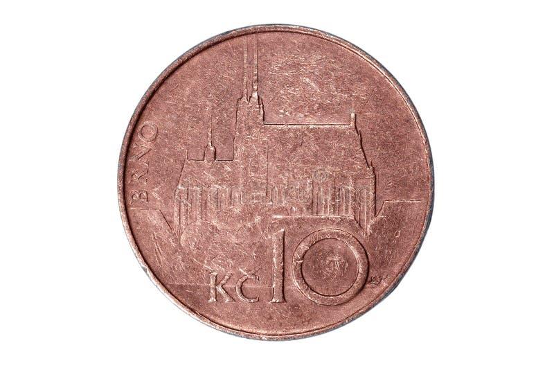 十,冠 捷克的货币 硬币的宏观照片 捷克描述十克朗硬币 免版税库存图片