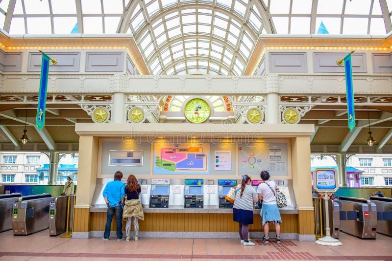 千叶,日本:东京迪士尼乐园度假区单轨铁路车驻地,浦安,千叶,日本 库存图片