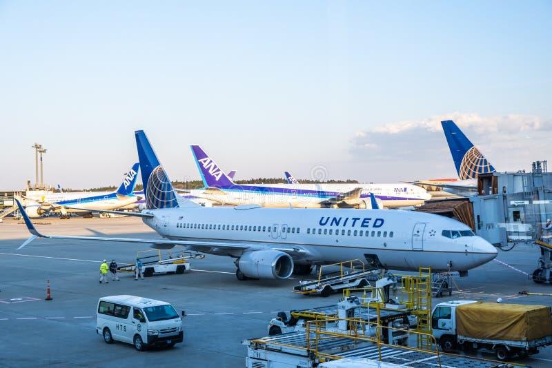 千叶,日本- 2019年3月24日:美联航飞机,一家主要美国航空公司看法总部设在威利斯大厦在芝加哥, 免版税库存图片