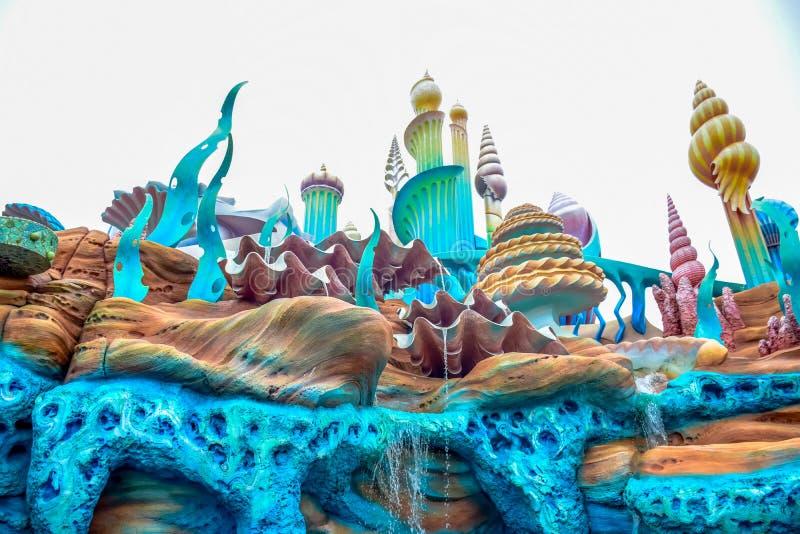 千叶,日本-, 2016年:美人鱼盐水湖atraction在东京位于浦安的Disneysea,千叶,日本 免版税库存照片
